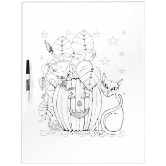 Cat Pumpkin Scene Adult Coloring Dry Erase Board