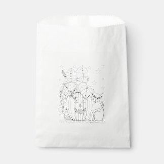 Cat Pumpkin Scene Line Art Design Favour Bags