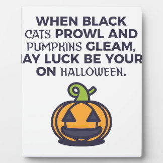 Cat Pumpkins Halloween Design Plaque