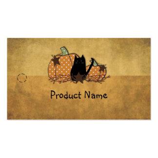 Cat & Pumpkins Hang Tag Business Cards