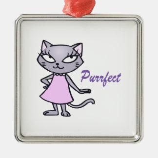 Cat Purrfect Silver-Colored Square Decoration