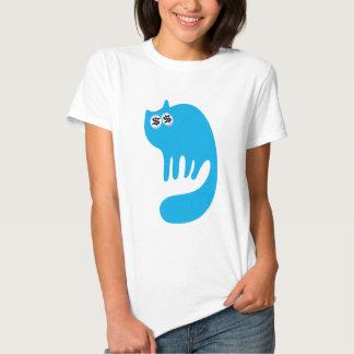 Cat Purring Blue Cash Eyes Blue T-shirt