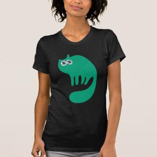 Cat Purring Green Cash Eyes Blue Tee Shirt