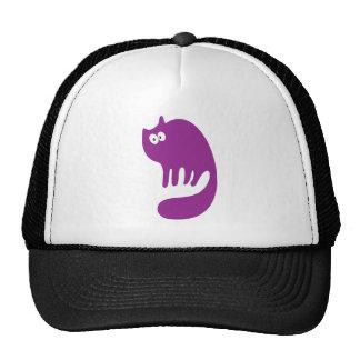 Cat Purring Purple Hello Eyes Hats