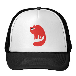 Cat Purring Red So Tired Eyes Mesh Hat