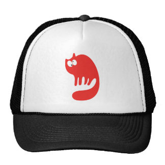 Cat Purring Red Topsy Turvey Eyes Mesh Hats