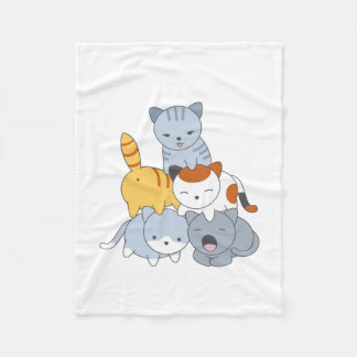 Cat Pyramid - Group of Cats Fleece Blanket