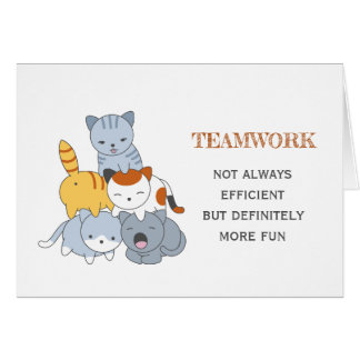 Cat Pyramid - Group of Cats Teamwork Quote Card