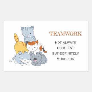 Cat Pyramid - Group of Cats, Teamwork Quote Rectangular Sticker