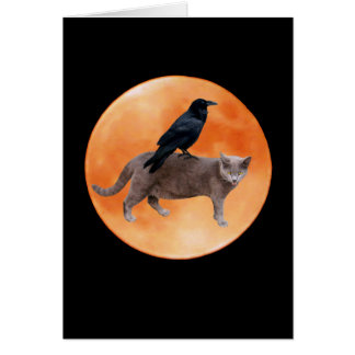 Cat Raven Moon Card