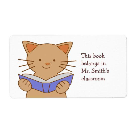Cat Reading Book Shipping Label