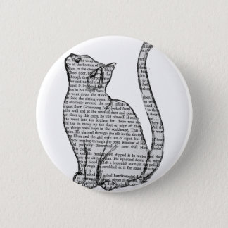 cat reading book sticker 6 cm round badge