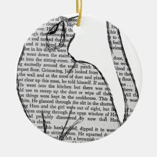 cat reading book sticker ceramic ornament