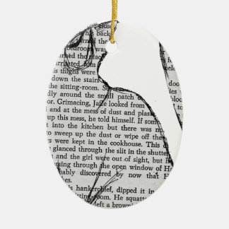 cat reading book sticker ceramic ornament