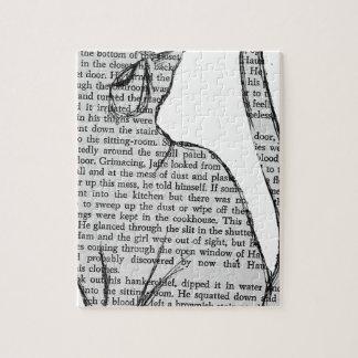 cat reading book sticker jigsaw puzzle