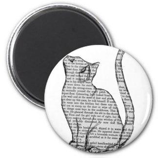 cat reading book sticker magnet