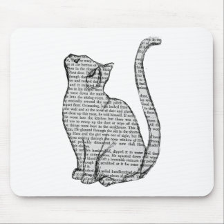cat reading book sticker mouse pad