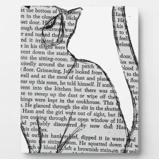 cat reading book sticker plaque