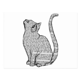 cat reading book sticker postcard