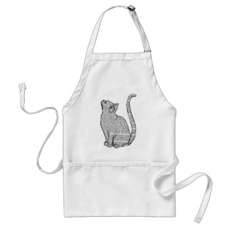 cat reading book sticker standard apron