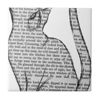 cat reading book sticker tile