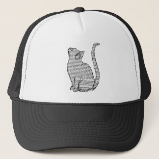 cat reading book sticker trucker hat