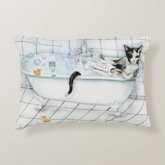 Cat reading newspaper in the bathtub decorative cushion
