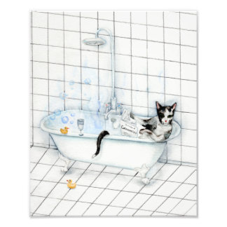 Cat reading newspaper in the bathtub. photo print