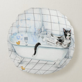 Cat reading newspaper in the bathtub round cushion