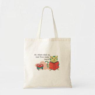 Cat reading Risale-i Nur Budget Tote Bag