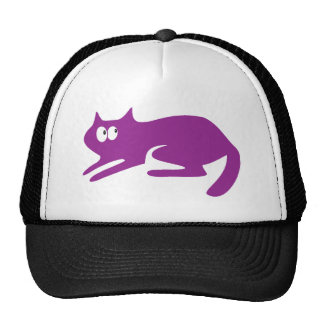 Cat Ready To Pounce Purple Look Up There Eyes Mesh Hats