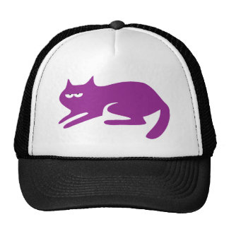 Cat Ready To Pounce Purple Yeah Right Eyes Trucker Hat