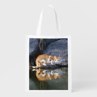 Cat Reflection Pond Water Funny Kitten - reuseable Reusable Grocery Bag