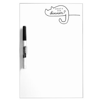 Cat Refrigerator Dinner Menu Dry Erase Board White