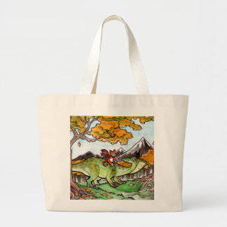Cat Rides a Dinosaur Jumbo Tote Bag
