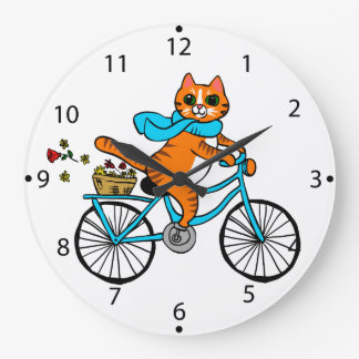 Cat riding a bicycle large clock