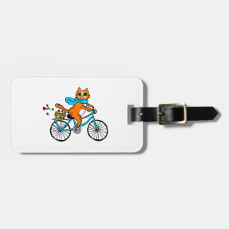 Cat riding a bicycle luggage tag