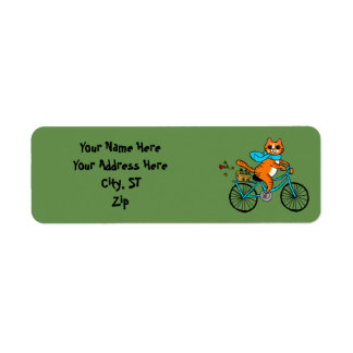 Cat riding a bicycle return address label