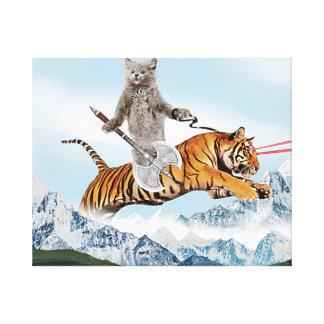Cat Riding A Tiger Canvas Print