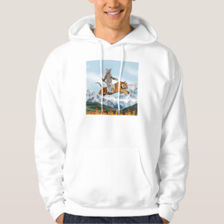 Cat Riding A Tiger Hoodie