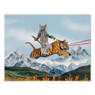 Cat Riding A Tiger Poster