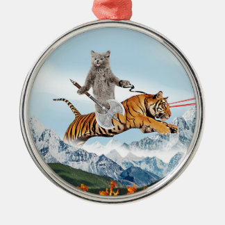 Cat Riding A Tiger Silver-Colored Round Decoration