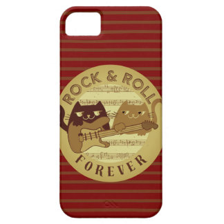 Cat Rock Music Electric Guitar Golden Stripes Chic iPhone 5 Case