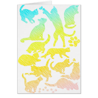 cat shadows in pastel greeting card