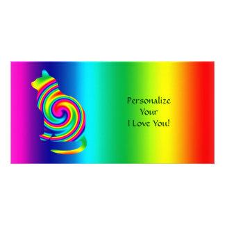Cat Shaped Rainbow Twirl Customised Photo Card