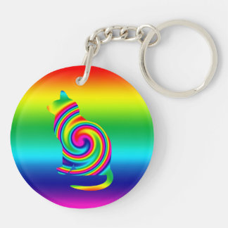 Cat Shaped Rainbow Twirl Double-Sided Round Acrylic Key Ring