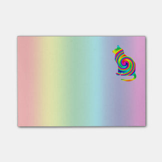 Cat Shaped Rainbow Twirl Post-it Notes