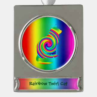 Cat Shaped Rainbow Twirl Silver Plated Banner Ornament