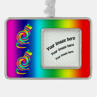 Cat Shaped Rainbow Twirl Silver Plated Framed Ornament