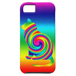 Cat Shaped Rainbow Twirl Tough iPhone 5 Case